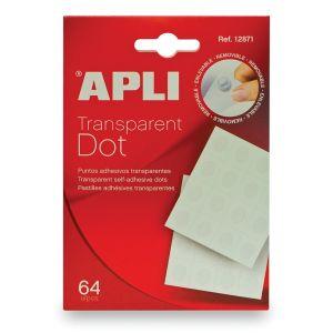 """Kółka mocująca APLI typu """"dot"""", usuwalne, 64szt., transparentne"""