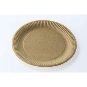 Talerz papierowy NATURE brązowy 23cm gramatura 300g, cena za 50 sztuk