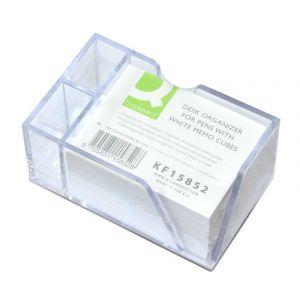 Przybornik na biurko Q-CONNECT na długopisy, z białymi karteczkami, przeźroczysty