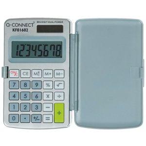 Kalkulator Q-CONNECT 8-cyfrowy, 60x101mm, etui, szary