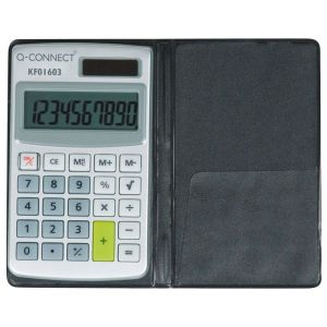 Kalkulator Q-CONNECT 10-cyfrowy, 73x118mm, etui, szary