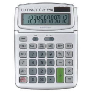 Kalkulator biurkowy Q-CONNECT 12-cyfrowy, 140x180mm, szary