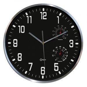 Zegar ścienny CEP Thermo-hygro, 30cm, czarny