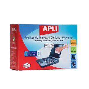 Chusteczki do czyszczenia ekranów TFT/LCD APLI, 2x20szt.