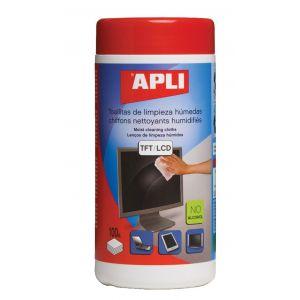 Ściereczki do czyszczenia ekranów APLI, tuba, 100szt.