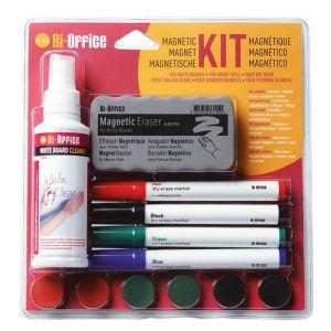 Zestaw do tablic magnetyczny BI-OFFICE, spray, gąbka, 4 markery oraz magnesy