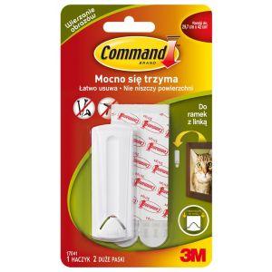 Haczyki Command™ (17041 PL), do ramek z linką, 1 haczyk i 2 duże paski, białe