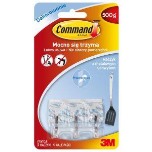 Haczyki Command™ (17067CLR PL), z metalo wym uchwytem, 3 haczyki i 4 małe paski,