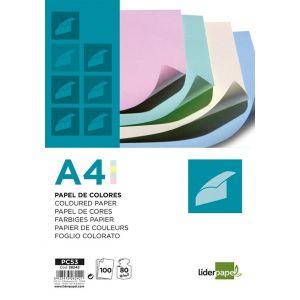 Papier kolorowy LIDERPAPEL, 4x pastelowy, 100 arkuszy, mix kolorów