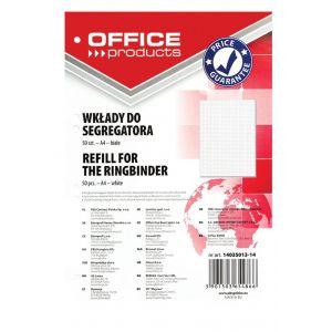Wkład do segregatora OFFICE PRODUCTS, A4, w kratkę, 50 kart., biały