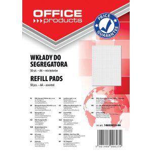 Wkład do segregatora OFFICE PRODUCTS, A4, w kratkę, 50 kart., mix kolorów