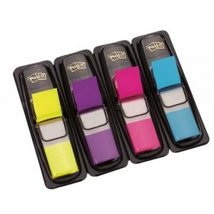 Zakładki indeksujące POST-IT® (683-4AB), PP, 12x43mm, 4x35 kart., mix kolorów neonowy