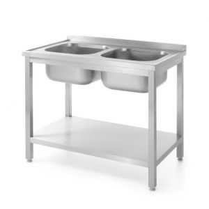 Stół z dwoma zlewami z półką - skręcany