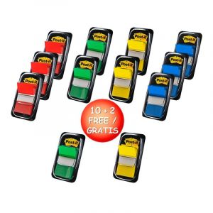 Zestaw promocyjny zakładek POST-IT® (680 -P10+2), PP, 25x43mm, mix kolorów, 10+2 GRATIS