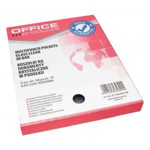 Koszulki na dokumenty OFFICE PRODUCTS, PP, A4, krystal, 55mikr., 100szt., w pudełku