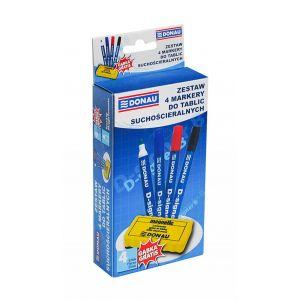 4-Whiteboard Marker Set, DONAU D-Signer B, round, assorted colours, FREE Sponge