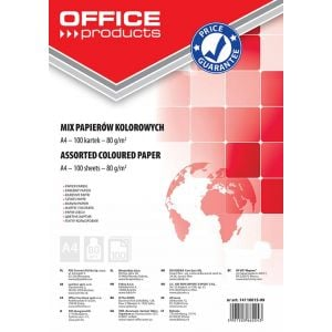 Coloured Paper OFFICE PRODUCTS, A4, 80gsm, 100 sheets, assorted colours
