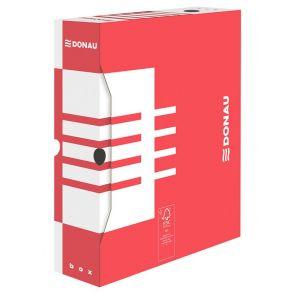 Pudło archiwizacyjne DONAU, karton, A4/80mm, czerwone