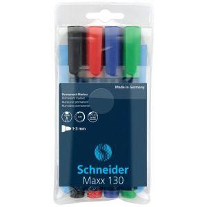 Zestaw markerów uniwersalnych SCHNEIDER Maxx 130, 1-3mm, 4 szt., miks kolorów