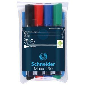 Zestaw markerów do tablic SCHNEIDER Maxx 290, 2-3mm, 4 szt., miks kolorów