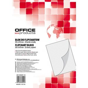 Flipchart Pad OFFICE PRODUCTS, square ruled, 58, 5x81cm, 20 sheets, white