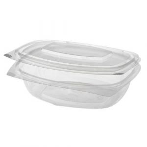 Salad container, oval 750 ml, crystal clear 100% biodegradable, pack of 50