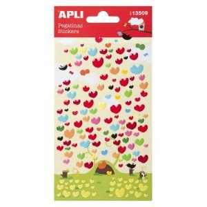 Naklejki APLI, serca, wypukłe, mix kolorów