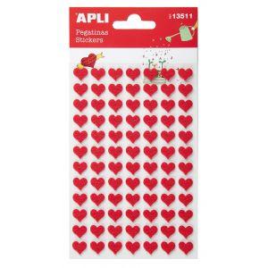 Naklejki APLI, filc, serca, 84 szt., czerwone