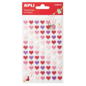 Naklejki APLI, filc, serca, 84 szt., mix kolorów
