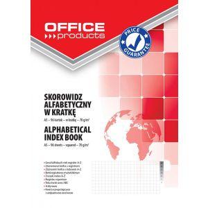 Skorowidz OFFICE PRODUCTS, A5, w kratkę, alfabetyczny, twarda okładka, 96 kart., 70gsm