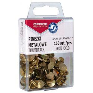 Pinezki metalowe OFFICE PRODUCTS, w pudełku, 150 szt., złote