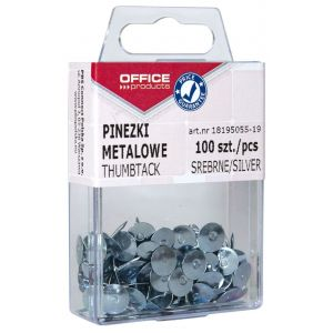 Pinezki metalowe OFFICE PRODUCTS, w pudełku, 100szt., srebrne