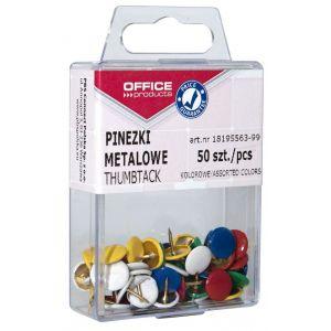 Pinezki kolorowe OFFICE PRODUCTS, w pudełku, 50szt., mix kolorów