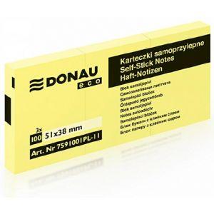 Bloczek samoprzylepny DONAU Eco, 38x51mm 36x100 kart., jasnożółty