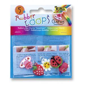 Charmsy RUBBER LOOPS SWEETHEART, 5szt., mix kolorów
