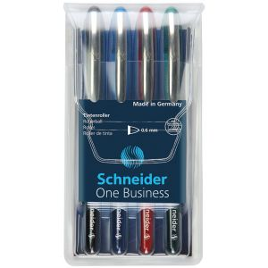 Zestaw piór kulkowych SCHNEIDER One Business, 0,6 mm, 4szt., miks kolorów