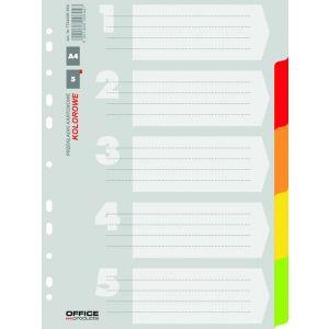 Przekładki OFFICE PRODUCTS, karton, A4, 227x297mm, 5 kart, mix kolorów