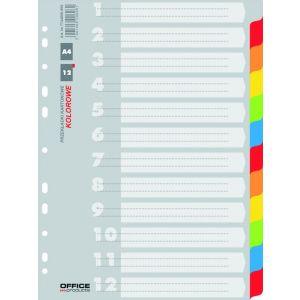 Przekładki OFFICE PRODUCTS, karton, A4, 227x297mm, 12 kart, mix kolorów