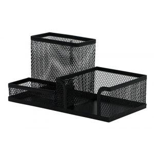 Przybornik na biurko Q-CONNECT Office Set, metalowy, 3 komory, czarny