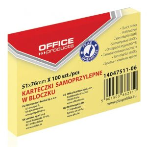 Bloczek samoprzylepny OFFICE PRODUCTS, 51x76mm, 1x100 kart., pastel, jasnożółty