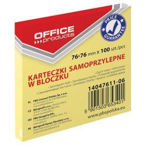 Bloczek samoprzylepny OFFICE PRODUCTS, 76x76mm, 1x100 kart., pastel, jasnożółte