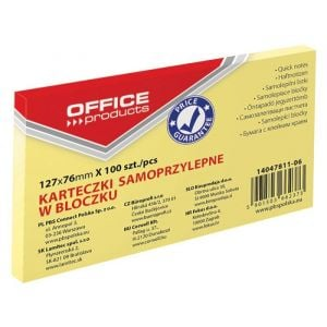 Bloczek samoprzylepny OFFICE PRODUCTS, 127x76mm, 1x100 kart., pastel, jaznożółty