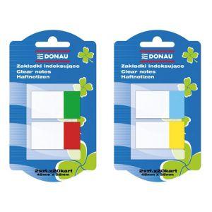 Zakładki indeksujące DONAU, PP, 25x45mm, 2x20 kart., mix kolorów