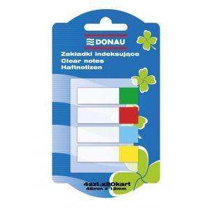 Zakładki indeksujące DONAU, PP, 12x45mm, 4x20 kart., mix kolorów