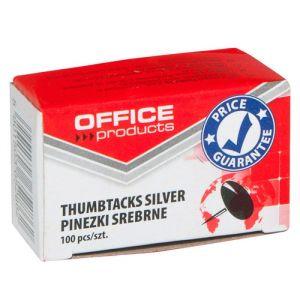 Pinezki klasyczne OFFICE PRODUCTS, 100szt., srebrne