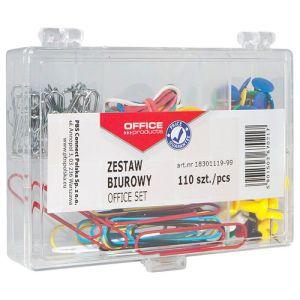 Zestaw biurowy (pinezki, gumki i spinacze) OFFICE PRODUCTS, mix 110szt.