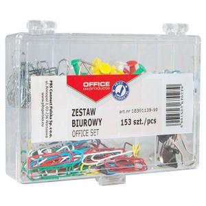 Zestaw biurowy (pinezki, klipy i spinacze) OFFICE PRODUCTS, mix 153szt., mix kolorów
