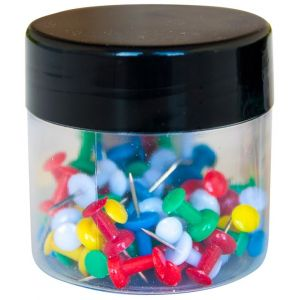 Pinezki beczułki Q-CONNECT, w plastikowym słoiku, 60szt., mix kolorów