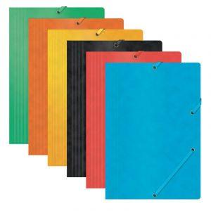 Teczka z gumką OFFICE PRODUCTS, preszpan, A4, 390gsm, 3-skrz., mix kolorów