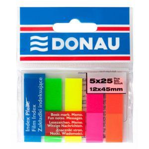 Zakładki indeksujące DONAU, PP, 12x45mm, 5x25 kart., mix kolorów